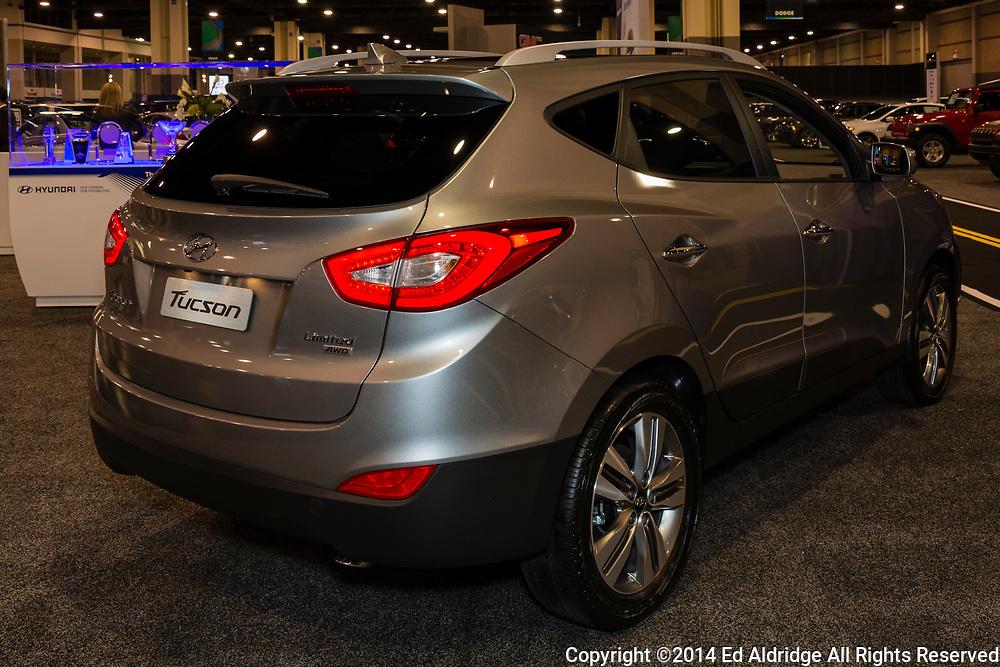 CHARLOTTE, NORTH CAROLINA - NOVEMBER 20, 2014: Hyundai Tucson on display during the 2014 Charlotte International Auto Show at the Charlotte Convention Center.