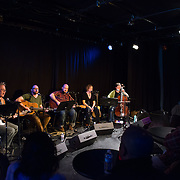 Guy Capecelatro III, Seth Gooby, Peter Squires, Mara Flynn, and Juliet Nelson (L to R) performing in The Loft at the 2013 Portsmouth Singer Songwriter Festival in Portsmouth, NH on April 21, 2013