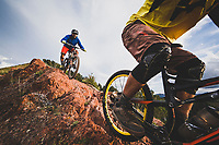 Sasha Yakovleff and Ben Duke riding the Spine on the Wasatch Crest Trail, Utah.