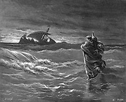Jesus walking on the water.  Matthew 14:25. Illustration from Gustave Dore's 'Bible', 1866. Wood engraving