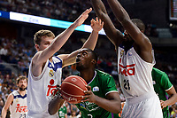 Real Madrid's /rm0/ and Othello Hunter and Unicaja Malaga's Viny Okouo during semi finals of playoff Liga Endesa match between Real Madrid and Unicaja Malaga at Wizink Center in Madrid, May 31, 2017. Spain.<br /> (ALTERPHOTOS/BorjaB.Hojas)