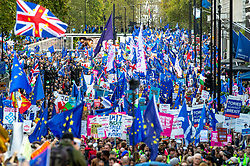 © Licensed to London News Pictures. 19/10/2019. London, UK. A large crowd holding banners and European Union flags walk along Piccadilly for the People's Vote demonstration in central London. Photo credit: Peter Manning/LNP