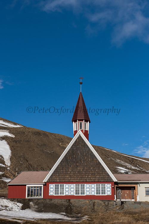 Svalbard Church<br /> Norwegian Constitution Day<br /> Longyearbyen<br /> Svalbard<br /> Norway<br /> Arctic Ocean
