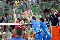 Tomas Rousseaux of Belgium during volleyball match between National teams of Slovenia and Belgium in 2nd Round of 2018 FIVB Volleyball Men's World Championship qualification, on May 28, 2017 in Arena Stozice, Ljubljana, Slovenia. Photo by Morgan Kristan / Sportida