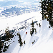 Kim Havell skis the Teton backcountry powder after a winter storm clears near Jackson Hole Mountain Resort.