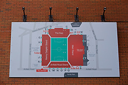 LIVERPOOL, ENGLAND - Friday, October 13, 2017: A map of Anfield on the day the club rename the Centenary Stand the Kenny Dalglish Stand in honour of the former player and manager. (Pic by David Rawcliffe/Propaganda)