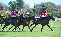 Commander of Fleet ridden by Jack Kennedy (left) goes on to win the Nathaniel Lacy & Partners Solicitors Cheltenham Bonus For Stable Staff Novice Hurdle during day one of the Dublin Racing Festival at Leopardstown Racecourse.