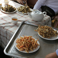 Asia, China, Guilin. Fresh catch of crustaceans served for snack on a Li River cruise.