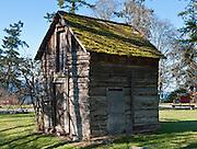 Original homestead cabin, at San Juan Island County Park, on Haro Strait, Washington, USA.
