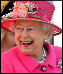 Image ©Licensed to i-Images Picture Agency. 20/04/2016. Windsor, United Kingdom. The Queen opens new Bandstand at Alexandra Gardens. HM The Queen Elizabeth II accompanied by The Duke of Edinburgh, officially open's the new Bandstand at Alexandra Gardens, Windsor, on the eve of her 90th Birthday.  Picture by Andrew Parsons / i-Images