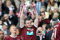 Football - Scottish FA Cup Final - Hibernian vs. Hearts<br /> Craig Beattie (Hearts) lifts the cup at Hampden Park.