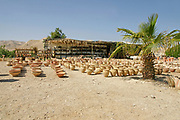 Jericho Junction, (Almog Junction) West Bank Israel / Palestine a tourist bus stops for a rest on the way to the Dead Sea