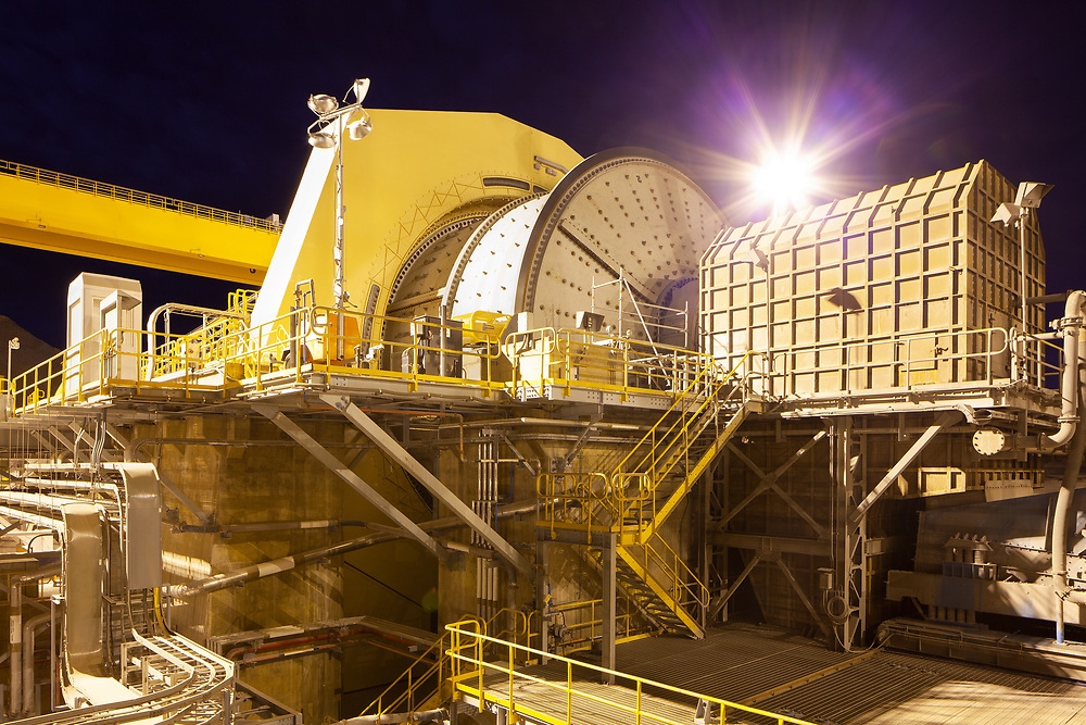 Ball mill at a Copper Mine in Chile at dawn.
