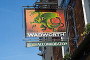 Green Dragon pub sign, Wadworth beer, Marlborough, Wiltshire, England,UK