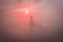 October 13, 2017 - Naples, Italy - Protesters held a student mobilization against School Reform # 107, better known as ''Buona Scuola.'' Particularly, students protested against the organization of school-work alternation, which was considered to be grossly wrong. (Credit Image: © Michele Amoruso/Pacific Press via ZUMA Wire)