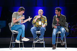 Peninha e Xico Sá durante o VOX - The Joy of Sharing, evento que  pretende provocar reflexões sobre o futuro da comunicação a partir do compartilhamento de conteúdo e experiências. FOTO: Jefferson Bernardes/ Agência Preview