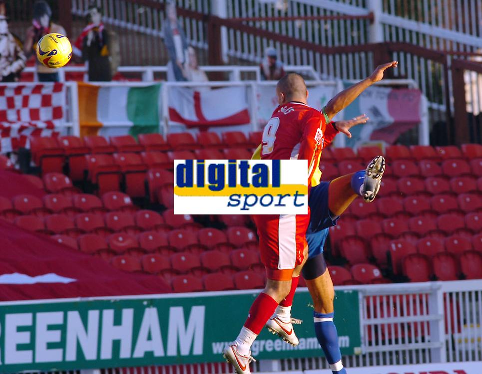Photo: Kevin Poolman.<br />Swindon Town v Hereford United. Coca Cola League 2. 04/11/2006. Swindon's Christian Roberts heads home Swindon's first goal.