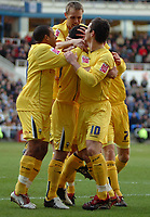Photo: Ed Godden.<br />Reading v Preston North End. Coca Cola Championship. 25/02/2006. Preston players surround teir goalscorer, Callum Davidson.