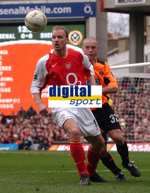 Photo. Daniel Hambury.<br /> Arsenal v Sheffield United. <br /> FA Cup Fifth Round.<br /> 19/2/2005.<br /> Arsenal's Dennis Bergkamp and  Sheffield United's Danny Cullip, the two players involved in the sending off incident.