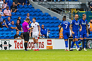 YELLOW CARD Bournemouth defender Adam Smith (15) is shown a yellow card by referee Joshua Smith during the EFL Sky Bet Championship match between Cardiff City and Bournemouth at the Cardiff City Stadium, Cardiff, Wales on 18 September 2021.