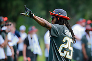 January 28 2016: Seattle Seahawks corner Richard Sherman acknowledges the fans during the Pro Bowl practice at Turtle Bay Resort on North Shore Oahu, HI. (Photo by Aric Becker/Icon Sportswire)