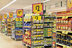Shelves at Morrisons Supermarket UK