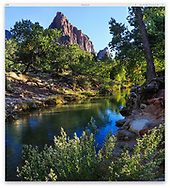 The Virgin River as it peacefully flows through Zion National Park, Utah, USA