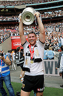 Hull's Scott Taylor shows off the cup at the end of the Challenge Cup Final 2016 match between Warrington Wolves and Hull FC at Wembley Stadium, London, England on 27 August 2016. Photo by Craig Galloway.