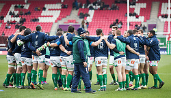 Benetton Rugby players huddle during the pre match warm up<br /> <br /> Photographer Simon King/Replay Images<br /> <br /> EPCR Champions Cup Round 3 - Scarlets v Benetton Rugby - Saturday 9th December 2017 - Parc y Scarlets - Llanelli<br /> <br /> World Copyright © 2017 Replay Images. All rights reserved. info@replayimages.co.uk - www.replayimages.co.uk