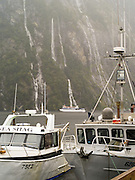 View of the Milford Sound Wharf and fishing boats, Fiordland National Park, New Zealand