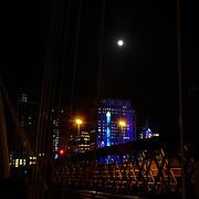 Chinese Mid-Autumn Festival full moon at Embankment Bridige on 13th September 2019, London, UK.