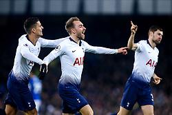 Christian Eriksen of Tottenham Hotspur celebrates scoring a goal to make it 4-1 - Mandatory by-line: Robbie Stephenson/JMP - 23/12/2018 - FOOTBALL - Goodison Park - Liverpool, England - Everton v Tottenham Hotspur - Premier League
