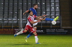 Mark Beevers of Peterborough United in action with Elliott List of Stevenage - Mandatory by-line: Joe Dent/JMP - 09/11/2019 - FOOTBALL - Lamex Stadium - Stevenage, England - Stevenage v Peterborough United - Emirates FA Cup first round