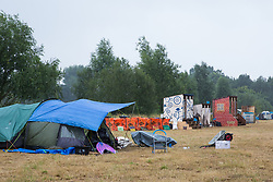 Roydon, Essex, UK. 27 July, 2019. Recycling and toilet facilities at Reclaim The Power's Power Beyond Borders mass action camp.