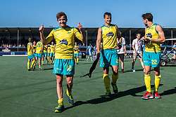 (L-R) Jacob Whetton of Australia, Tom Craig of Australia, Flynn Ogilvie of Australia during the Champions Trophy finale between the Australia and India on the fields of BH&BC Breda on Juli 1, 2018 in Breda, the Netherlands.