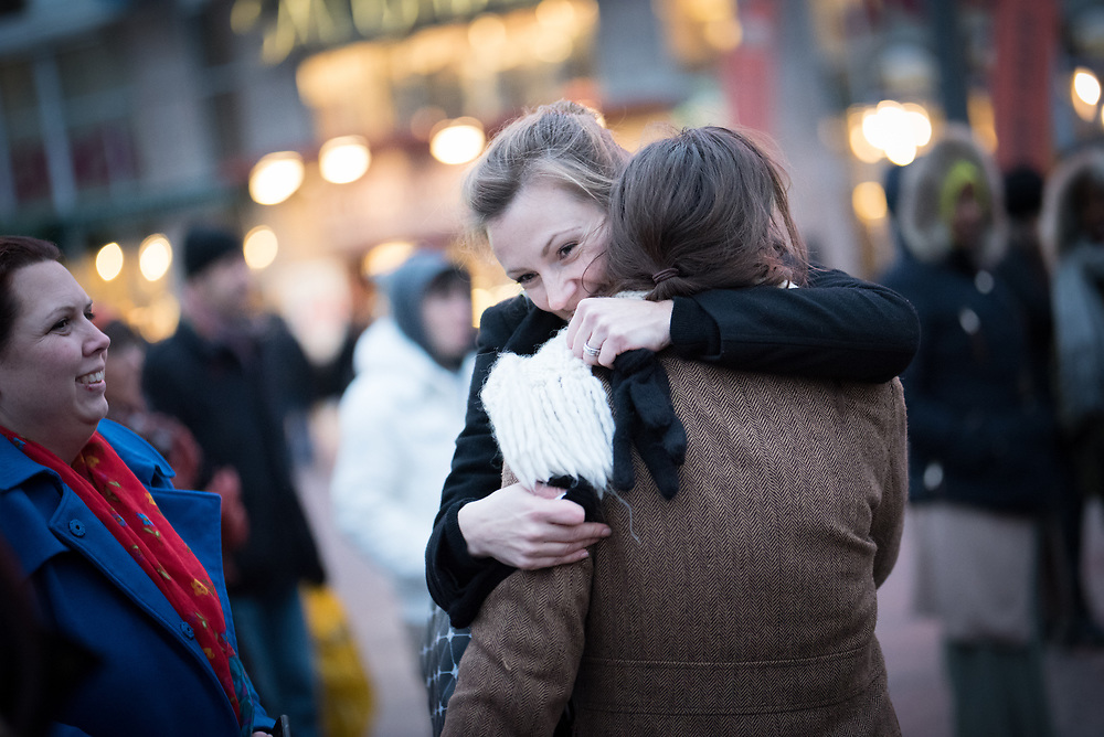 """25 November 2017, Stockholm, Sweden: """"Stop deporting people to a country that isn't safe"""", was the message as hundreds of people from all walks of life gathered at Medborgarplatsen in central Stockholm, to highlight Sweden's Refugee Day, and the way Swedish authorities keep persisting in deporting young people to Afghanistan. The event marked two years since November 2015, when Swedish government officials took a turn towards stricter policies for granting refugee status to asylum seekers, and so a range of civil society organizations, including faith-based organizations, now take a stand for more humane refugee policies. Fredrika Gårdfeldt from Katarina Parish, Church of Sweden, was one of the speakers. She emphasized the need for more humane processes, accompaniment of people through the asylum process, the need for housing to be offered to those newly arrived, and the way Church of Sweden work with the Stockholm Mosque and Islamic Relief in a project named """"Goda grannar"""" ('Good neighbours'), which among other things, organizes language cafes for those in need of learning Swedish."""