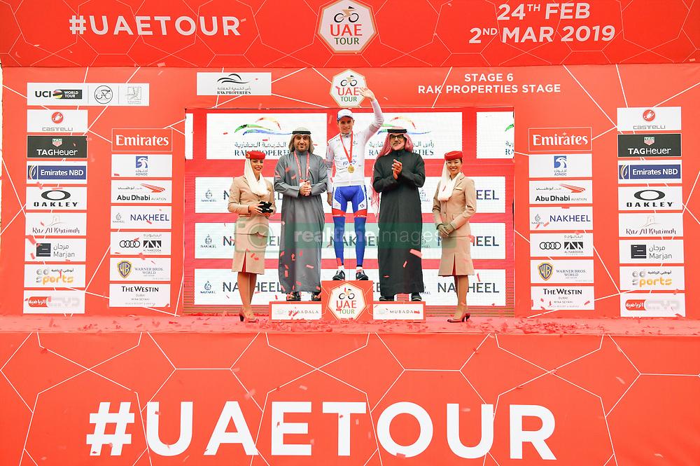 March 1, 2019 - Emirati Arabi Uniti - Foto LaPresse - Massimo Paolone.1 Marzo 2019 Emirati Arabi Uniti.Sport Ciclismo.UAE Tour 2019 - Tappa 6 - da Ajman a Jebel Jais - 180 km.Nella foto: David Gaudu (Groupama - FDJ) durante la premiazione..Photo LaPresse - Massimo Paolone.March 1, 2019 United Arab Emirates.Sport Cycling.UAE Tour 2019 - Stage 6 - Ajman to Jebel Jais - 111,8 miles.In the pic: David Gaudu (Groupama - FDJ) during the award ceremony (Credit Image: © Massimo Paolone/Lapresse via ZUMA Press)