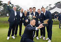 HILVERSUM - Haukur Örn Birgisson , president EGA. with the winning team, Germany.   ELTK Golf 2020 The Dutch Golf Federation (NGF), The European Golf Federation (EGA) and the Hilversumsche Golf Club will organize Team European Championships for men.  COPYRIGHT KOEN SUYK