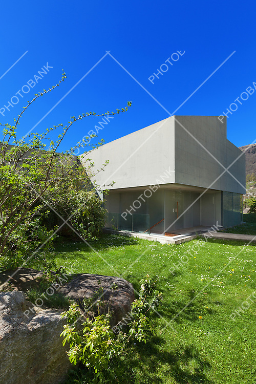 Architecture modern design, concrete house view from the garden