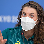 TOKYO, JAPAN - JULY 19: Australian Canoe-Slalom competitor Jessica Fox speaks to the media during a Press Conference in the Main Press Centre ahead of the Tokyo 2020 Olympic Games on July 19, 2021 in Tokyo, Japan. (Photo by Tim Clayton/Corbis via Getty Images)