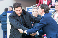 Atletico de Madrid coach Diego Pablo Simeone and Athletic Club coach Jose Angel Ziganda  during La Liga match between Atletico de Madrid and Athletic Club and Wanda Metropolitano in Madrid , Spain. February 18, 2018. (ALTERPHOTOS/Borja B.Hojas)