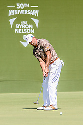 May 17, 2018 - Dallas, TX, U.S. - DALLAS, TX - MAY 17: Jonathon Byrd putts on the 18th green during the first round on May 17, 2018 at the 50th AT&T Byron Nelson at the Trinity Forest Golf Club in Dallas, Texas. (Photo by Matthew Pearce/Icon Sportswire) (Credit Image: © Matthew Pearce/Icon SMI via ZUMA Press)