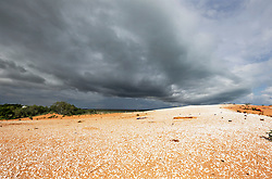 Storm s roll in over Broome's Kennedy Hill from Roebuck Bay in the 2014 wet season.