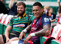 Football - 2019 / 2020 Gallagher Premiership Rugby - New Season Launch Media Photocall<br /> <br /> Bristol Bears' Nathan Hughes with Northampton Saints' Tom Wood, at Twickenham.<br /> <br /> COLORSPORT/ASHLEY WESTERN