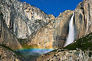 Moonbow and starry sky over Yosemite Falls, Yosemite National Park, California USA