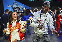 January 29, 2018 - Minneapolis, Minnesota, U.S - New England Patriots cornerback JOHNSON BADEMOSI dances a suggestion of a young reporter at Super Bowl LII Opening Night at the Xcel Energy Center in St. Paul, Minnesota. (Credit Image: © Craig Lassig via ZUMA Wire)