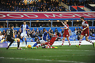 Birmingham City's Aaron Mclean is tackled by Middlesbrough's Rhys Williams in the goal area during the Skybet football league championship match, Birmingham city v Middlesbrough at St.Andrew's in Birmingham, England on Sat 7th Dec 2013. pic by Jeff Thomas/Andrew Orchard sports photography.