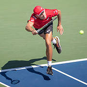2019 US Open Tennis Tournament- Day Five.  Alex de Minaur of Australia in action against Kei Nishikori of Japan in the Men's Singles Round Three match on Grandstand at the 2019 US Open Tennis Tournament at the USTA Billie Jean King National Tennis Center on August 30th, 2019 in Flushing, Queens, New York City.  (Photo by Tim Clayton/Corbis via Getty Images)