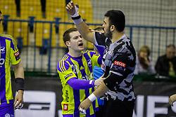 Miha Zarabec #23 of RK Celje Pivovarna Lasko and Tolga Ozbahar #20 of Besiktas during handball match between RK Celje Pivovarna Lasko (SLO) and Besiktas J.K. (TUR)  in 14th Round of EHF Men's Champions League 2015/16, on March 5, 2016 in Arena Zlatorog, Celje, Slovenia. (Photo by Ziga Zupan / Sportida)