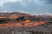 lava erupting from fissure 8 of the Kilauea Volcano east rift zone in Leilani Estates subdivision, near Pahoa, flows downslope as a glowing river of hot lava through what was formerly a papaya orchard in Kapoho, lower Puna District, Hawaii Island ( the Big Island ), Hawaiian Islands, U.S.A.; heat waves rising from the lava shimmer the air, distorting the view of everything beyond the edge of the river
